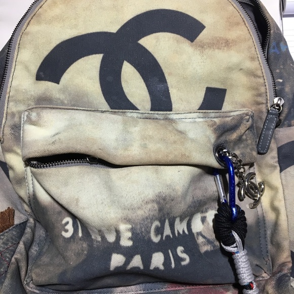 Chanel Bags Authentic Chanel Graffiti Backpack Grey Poshmark